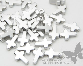 MB009-01-MR// Matt Rhodium Plated Mini Cross Charm, 6 pcs