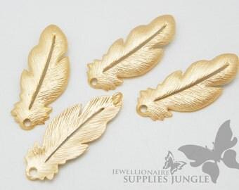 P256-02-MG// Matt Gold Plated Feather Pendent, 2pcs