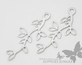 P004-04-MR// Matt Rhodium Plated Twig Pendant, 2 pcs
