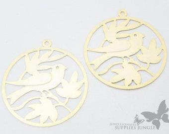 P279-MG// Matt Gold Plated Bird Pendant, 2pcs