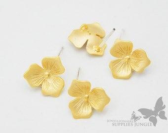 E140-MG// Matt 14k Gold Plated Flower Post Earring, 2pcs