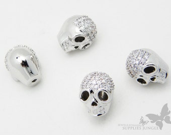 MB010-OR// Gossy Orininal Rhodium Plated Skull Metal Beads, 2Pc
