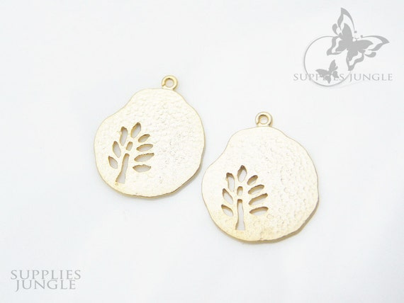 P018-01-MG// Matte Gold Plated Tree Pendant, 4Pc