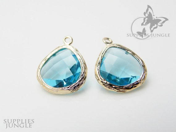 F100-G-IB// Gold Framed Ice Blue Faceted Glass Stone Pendant, 2 pcs
