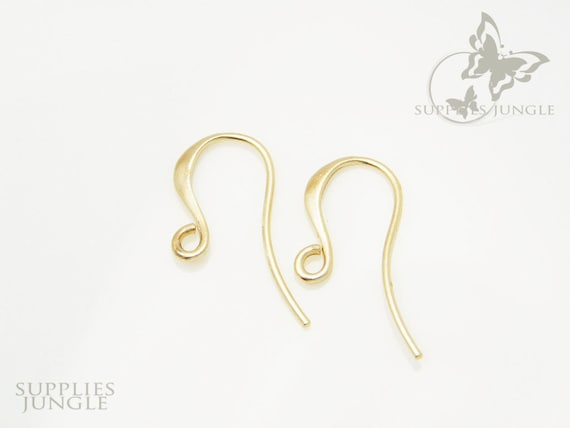 E104-MG// Matt Gold Plated French Curved Earwire, 6 pcs