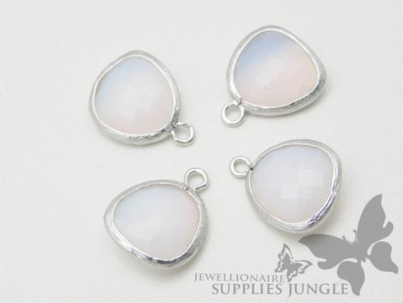 F102-MR-WP// Matt Original Rhodium Plated Framed White Pearl Glass Pendant, 2Pc
