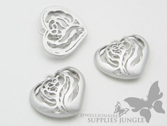 P248-MR// Matt Original Rhodium Plated Rose Pattern Heart Pendant, 2Pc