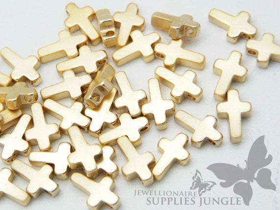 MB009-01-MG// Matt 14k Gold Plated Mini Cross Charm, 6 pcs