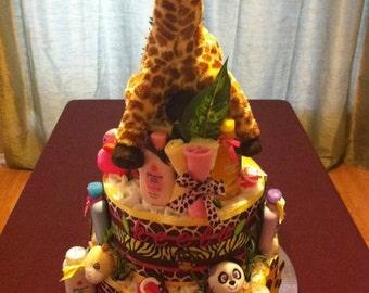 Safari Diaper Cake for a baby Girl