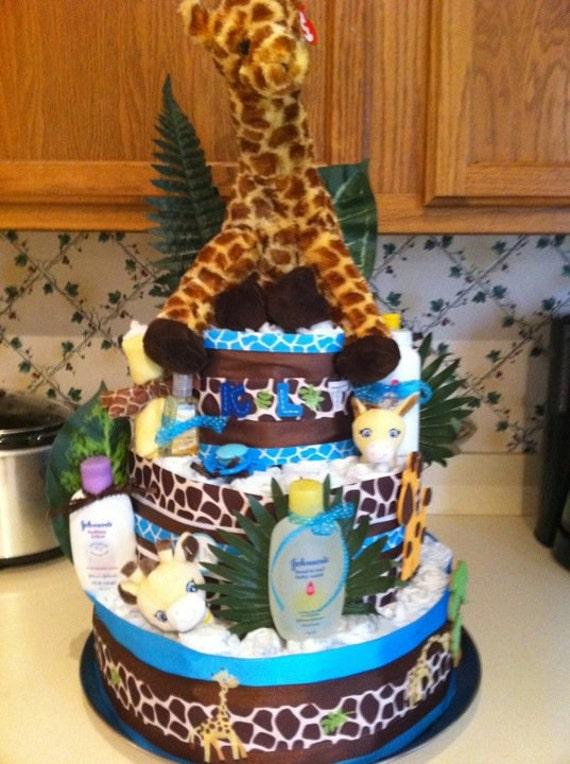 Giraffe Diaper Cake For Boy