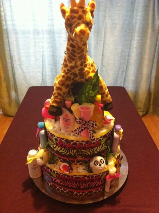 Safari Diaper Bag Safari Diaper Cake For a Baby