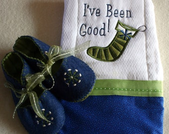 Snowflake baby gift set in vivid blue and  moss with coordinating burp cloth
