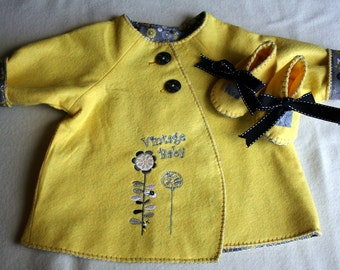 Baby jacket with soft shoes..grey and yellow floral-lemon custard and silver