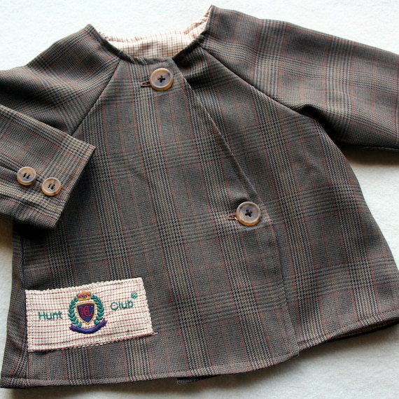 Upcycled baby boy's jacket made from men's wool sportcoat