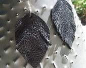 Leather Leaf Fringe Earrings //dark as night//