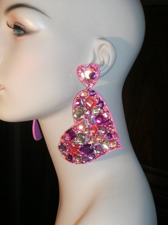 Sweetheart girly rhinestone earrings
