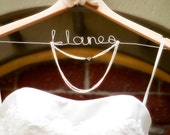 Personalized Wedding Hanger with Burlap Flower - Natural Finish (Pine)