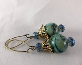 Blue Jasper Beaded Earrings