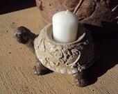 Statuary Stone Turtle Candle Holder ooak