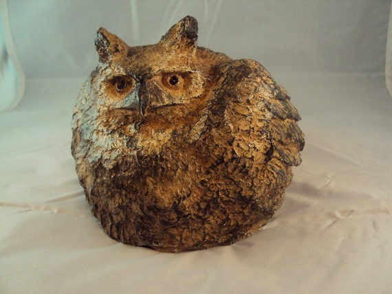 Cast Cement Stone Great Horned Owl