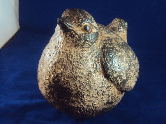 Cast Cement Stone Bird Well Fed