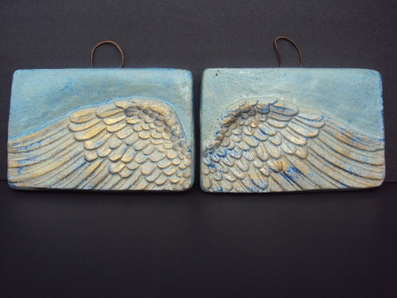 RESERVED For Moscow Statuary Angel Wings In The Sky   Two Wall Hangings Use Coupon