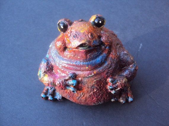 Frog Stone, Hippy Frog,  Handcast and painted. ooak