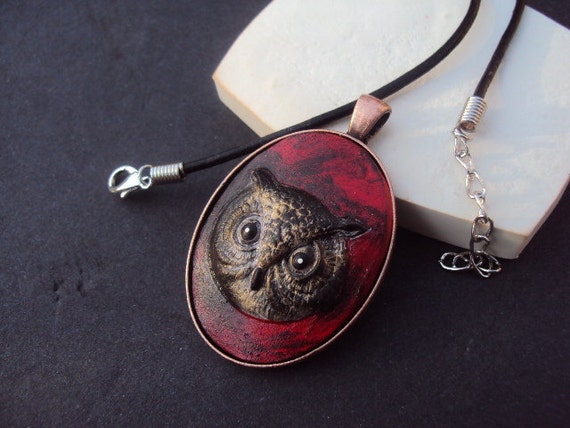 Cast Cement Stone Owl Necklace  ooak