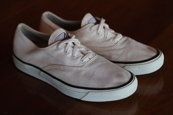 Vintage White Canvas Sperry Top Sider Vulcanized Sailing Shoes Women's size 9