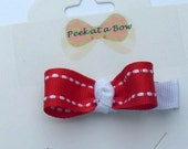 Hair bow tuxedo  red and  white
