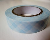 Japanese Washi Tape Roll in Baby Blue Gingham