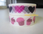 Japanese Washi Tape Duo of Cupcakes and Hearts