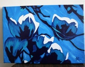 Original Acrylic Painting 10x14 Blue Magnolias by Rebecca Lothyan