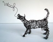 Unique Wire Dog Sculpture by Nakisha - The dog says WOOF
