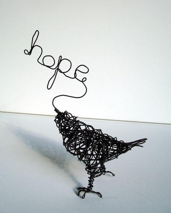 A Little HOPE - Original Wire Bird Sculpture
