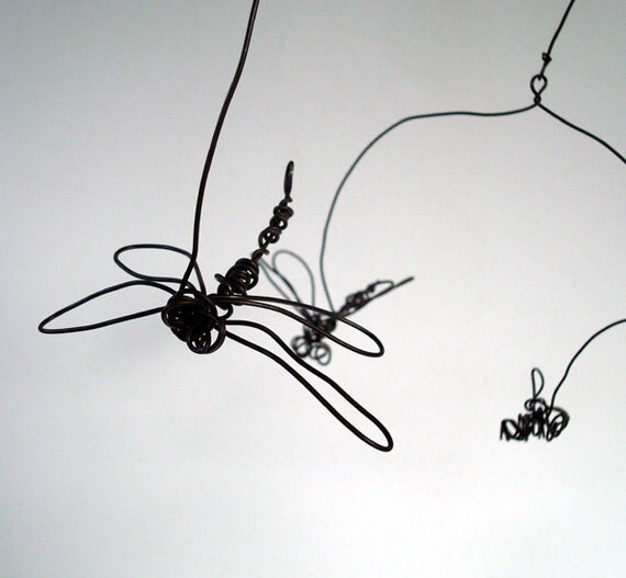 Dancing BEES and DRAGONFLIES - Unique Wire Mobile Sculpture