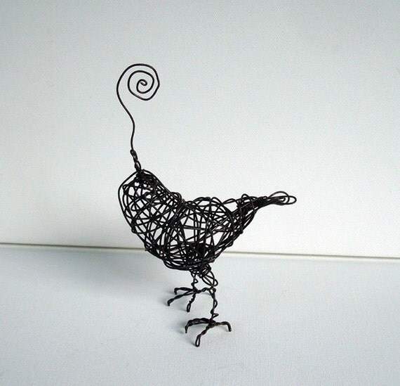 SWIRLY FINCH - One Of A Kind Wire Bird Sculpture -Note and Photo Holder