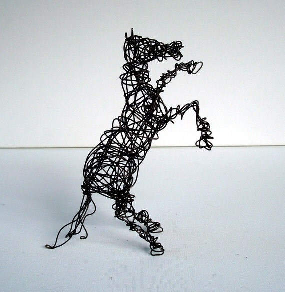Unique Wire Horse Sculpture - REARING COLT - Free USA Shipping