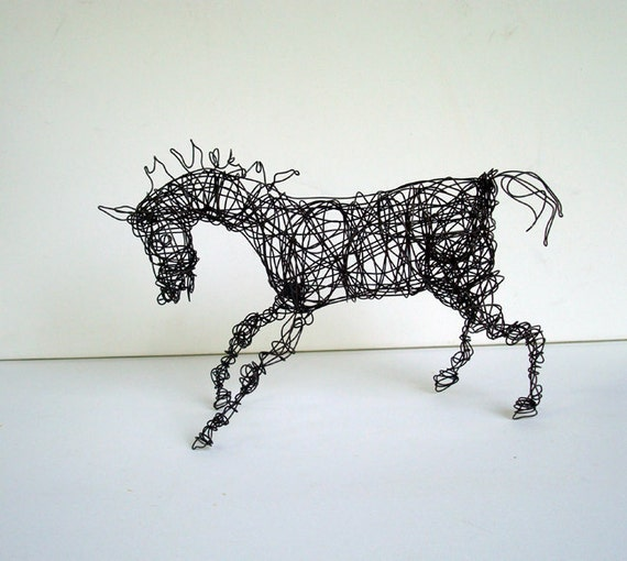 Unique Wire Horse Sculpture - CANTERING ARABIAN - Free USA Shipping