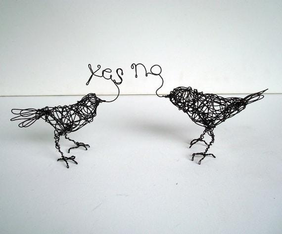 YES, NO Birds- Pair of Original Handmade Wire Bird Sculpture