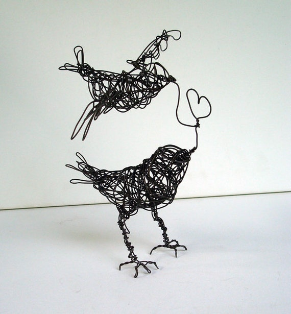 Two Birds, ONE LOVE - Wire Bird Sculpture - Free USA Shipping