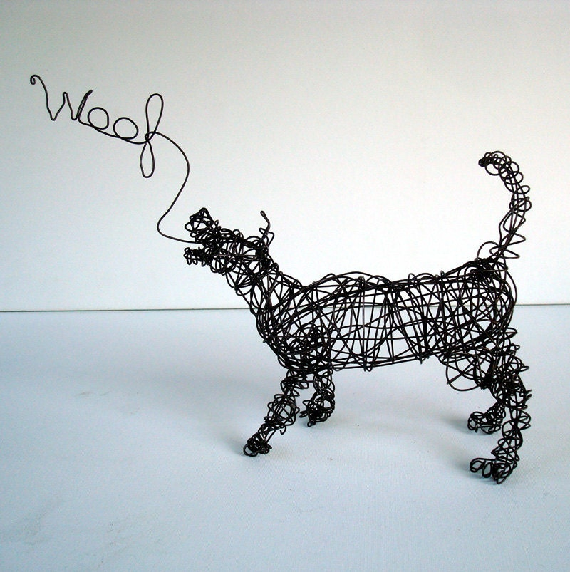 Unique wire dog sculpture by nakisha the dog says woof for Dog wire art