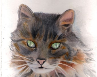Cat Watercolor Portrait Print