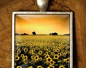Sunflower Field - 482 /  Domed Glass Tile Cabochon Art Necklace Pendant