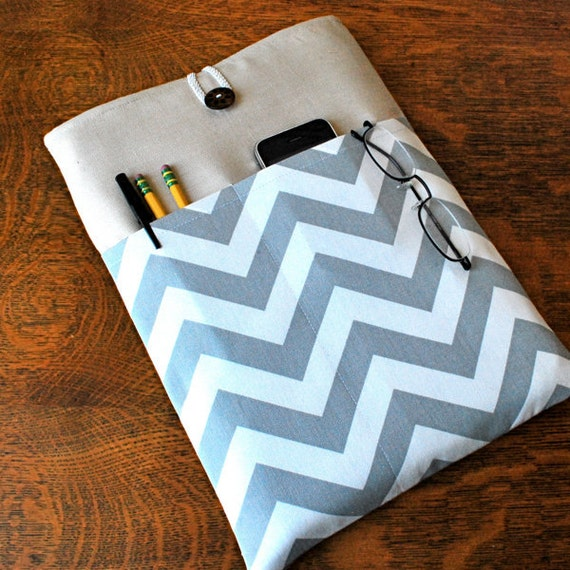 iPad Cover Padded Case Sleeve - Linen with Linen with Grey White Chevron Zig Zag Fabric Pocket