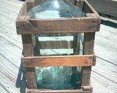 BARN FIND Great Old Glass Water or Wine Jug With Original Wooden Crate 1930s