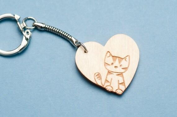 Wooden Love Cat Key Chain