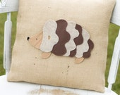 Tiggywinkle- Decorative Felt Hedgehog Burlap Pillow 14x14