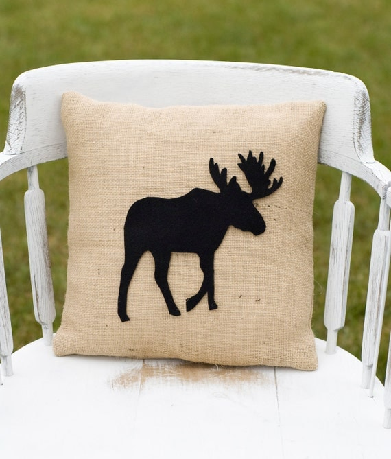 Decorative Moose Pillows : Items similar to Decorative Felt Moose Silhouette Burlap Pillow 14x14 on Etsy