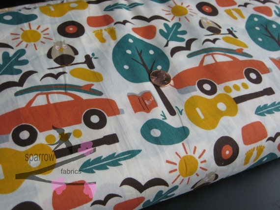 SALE Happy Summer Organic Cotton by Monaluna for Birch Fabrics Circa 60 Beach Mod  1 yard